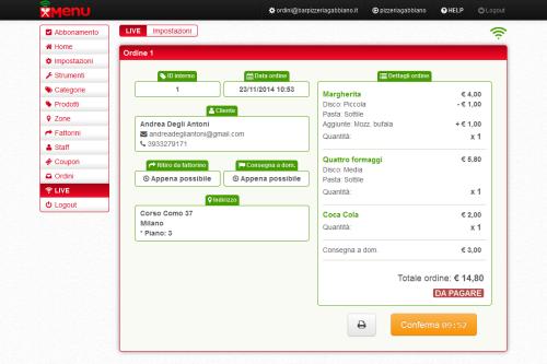 schermata controllo ordini in arrivo